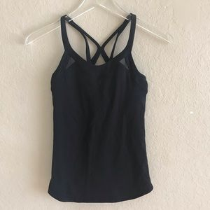 Lululemon black mesh criss cross back tank sz 2